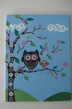 Whoot Owl Painting. Try using GG's old bible pages for the tree.