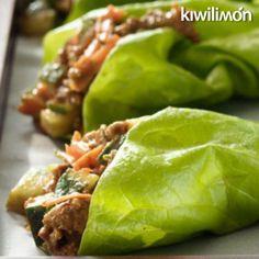 Estos tacos son ideales para la dieta, ya que en vez de tortilla se usan lechugas.
