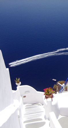 White steps to blue sea, Santorini