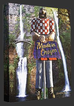Portland, Oregon Paul Bunyan Collage Canvas Gallery Wrap