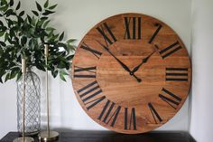 "30"" solid cherry wall clock.  Handmade in the USA. Available in 5 sizes. Free shipping. Handmade Clocks, Wood Clocks, Deep Red Color, Roman Numerals, Types Of Wood, Farmhouse Decor, Hardwood, Wall, Pattern"