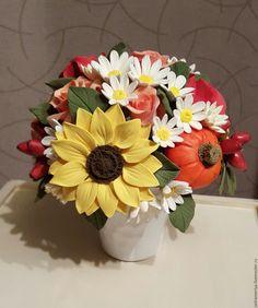 Купить Букет для интерьера из полимерной глины Осень - разноцветный, желтый, оранжевый, оригинальный подарок, белый