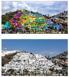 In a fantastic attempt at urban renewal, the government of Mexico recently collaborated with a group of local street artists called Germen Crew to paint a 20,000 square meter mural across the facades of 209 homes in the district of Palmitas in Pachuca, Mexico. The project was intended to bring about visual and social transformation by temporarily providing jobs and, according to some reports, reduce crime and violence in the neighborhood.