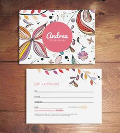 Andrea Double Sided Gift Certificate Design