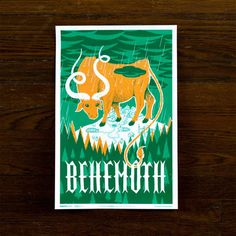 Monster Friends – Behemoth, $25, now featured on Fab. The Behemoth: a mythical beast of Biblical proportions. He has a longstanding reputation as an unconquerable bully, but this Behemoth Print by Familytree tells a different story. this dazzling screenprint reveals the supernatural beast is actually something of a gentle giant. Sure, he can trample entire cities under his hooves, but those coy little eyes just want shelter from the storm. Won't you let him in?