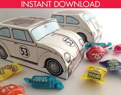 Beetle Bug Box - Herbie - Love Bug - Birthday Party, Favor Box - Retro Inspired - INSTANT DOWNLOAD -  DIY Printable PDF Kit $7.99