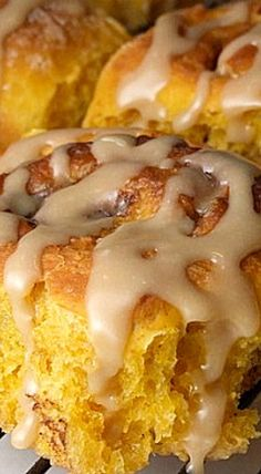 Amish Pumpkin Cinnamon Rolls with Caramel Icing ❊