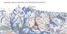 Cervinia piste map and ski area map. Details of all the runs and lifts in Cervinia, Italy from Iglu Ski Zermatt, Travel Center, Area Map, Snow Skiing, Pista, Travel List, Holiday Destinations, Switzerland, City Photo
