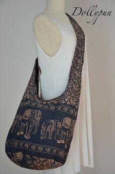 SLATE GRAY - Bohemian hippie elephant print, Sling, Cross body, Shoulder bag, Boho, Peace bag, Purse E141 on Etsy, $8.98