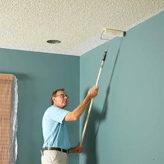Roll Gently on Textured Ceilings - How to Paint a Ceiling: http://www.familyhandyman.com/painting/tips/how-to-paint-a-ceiling#10