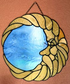 Moon Man Mirror Stained Glass Panel by BerlinGlass on Etsy, $59.00