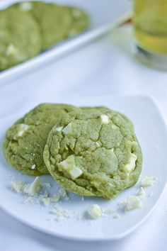 White Chocolate Green Tea Cookies. I think I'd do dark chocolate though, especially for Bobby.