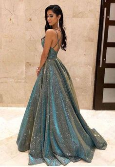 2020 Fashion Ball Gown V Neck Sparkly Satin Long Prom Dresses with Pockets, Cross Back Evening Dresses The Dress Bridal Stunning Prom Dresses, Pretty Prom Dresses, Elegant Dresses, Formal Dresses, Sexy Dresses, Wedding Dresses, Summer Dresses, Long Dresses, Sparkly Prom Dresses