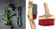 Meer dan alleen functioneel. Links: tuingereedschap van Bacsac, rechts: borstels van Aya Zehavi #ritual #product #home #brush #gardentool #beauty @#trends