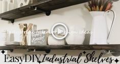 New Great DIY Ideas With Industrial Pipes #industrialdesign Diy Industrial Bookshelf, Diy Pipe Shelves, Diy Kitchen Shelves, Industrial Home Design, Floating Shelves Diy, Open Shelves, Room Shelves, Rustic Bathroom Decor, Rustic Kitchen Decor