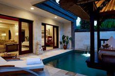 Tropical Patio with exterior stone floors, Fence, Fountain, Hospitality Rattan Soho Patio Chaise Lounge with Wheels, Gazebo