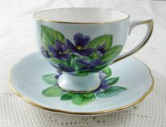 Royal Vale Blue Tea Cup and Saucer with Purple Flowers (Violets), Vintage Bone China