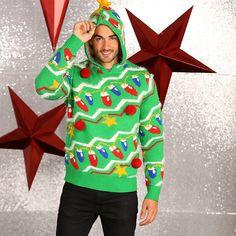 Kersttrui groen met capuchon voor heren. Groene hippe kersttrui met capuchon. De kersttrui is gemaakt van 85% acryl en 15% nylon.