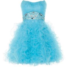 ANOUSHKA G Tara short tulle prom dress ($160) ❤ liked on Polyvore featuring dresses, blue, sale, blue prom dresses, short cocktail dresses, blue ruffle dress, short dresses and blue dress