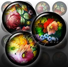 Digital Collage Sheets Bottle Cap Glass Cabochon by CobraGraphics