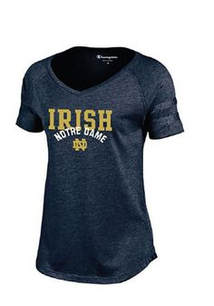 Notre Dame Fighting Irish Womens Navy Blue Triumph T-Shirt
