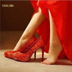 Top Quality Women Fashion embroidered Red High heels Schools