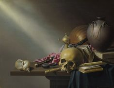 Still Life: An Allegory of the Vanities of Human Life, about 1650, Harmen Steenwyck; a vanitas painting, the skull symbolises death; the books, human knowledge; the musical instruments, the pleasures of the senses; the sword and shell, wealth; the chronometer and failing lamp represent the transience and frailty of human life. (National Gallery)