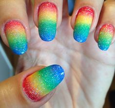 Rainbow gradient nails - somanylovelythings.com