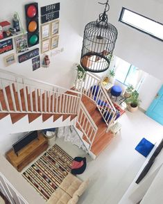 Renovasi Ajaib Rumah Tipe 36 jadi 84, Ini Triknya! Home Room Design, Home Design Plans, Interior Design Living Room, Living Room Designs, Interior Decorating, Stairs In Living Room, Small Living Rooms, House Layout Plans, House Layouts