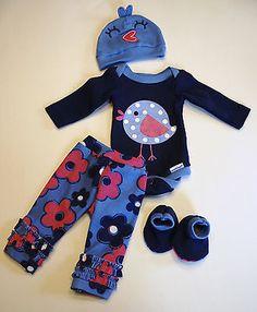 """OOAK Baby Doll Mini Reborn Micro Preemie Bodysuit Pant Floral Spring 14"""""""