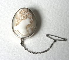 Vintage Cameo Brooch Sterling Silver Carved Shell by Mrs Gibson.