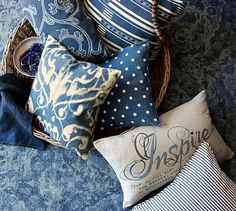 Pillow Covers | Pottery Barn - pretty blues (indigo? china blue? like the scrolly ones especially )