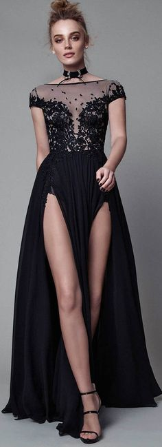 Cap Sleeves Sexy Split Black Cheap Long Evening Prom Dresses, WG1021 #promdress #longpromdress #eveningdress