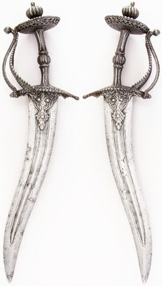 Indian chilanum dagger, 17th century, steel, H. 16 3/16 in. (41.1 cm); H. of blade 11 1/4 in. (28.6 cm); W. 4 5/8 in. (11.7 cm); Wt. 19.7 oz. (558.5 g), Met Museum, Bequest of George C. Stone, 1935.