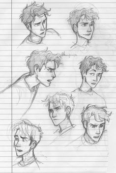Percy Jackson expressions by burdge bug. Lovin' her amazing art! Drawing Reference, Art Reference Poses, Hair Reference, Drawing Sketches, Art Drawings, Sketching, Cartoon Drawings, Cartoon Kunst, How To Draw Hair