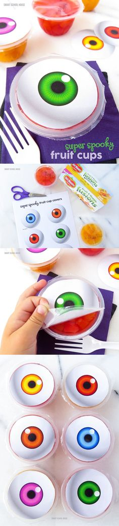 Spooky Eyeball Fruit Cups (free printable). A fun candy alternative for Halloween or at a kids party!