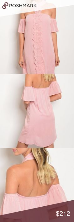 Blush pink dress New!! Available in small,medium or large  Lovely blush pink Off the shoulder ruffle detail crochet choker neck dress. 100%rayon HVHOUSEWIFE Dresses Midi