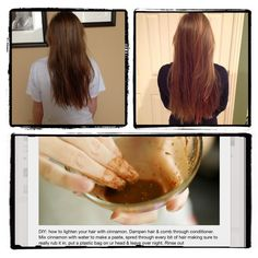 I did the cinnamon lightening thing, and it made my hair look and feel thicker, longer, softer, and it smelled amazing! Lighten Hair Naturally, How To Lighten Hair, Cinnamon Hair, Bleaching Your Hair, Hair Remedies, Bleached Hair, Hair Care Routine, Face Hair, Layered Hair