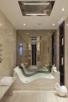 Contemporary Master Bathroom with Wall Tiles, Bathtub, flush light, pental crystal polished quartzite, can lights