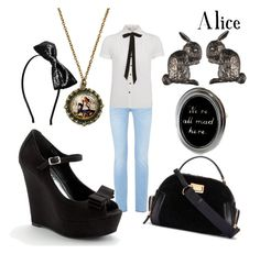 """Alice"" by wonderlandofgeeks ❤ liked on Polyvore featuring 7 For All Mankind, Cameo Rose, LC Lauren Conrad, Hoolala, Marc by Marc Jacobs and Alexis Bittar"