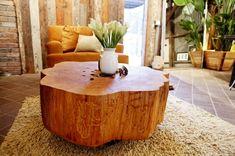 massivholz Couchtische wohnzimmer Baumstamm