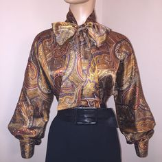 b34ee0096 10 M HIGH NECK Vtg LIQUID SATIN Gold Paisley BOW BLOUSE Bust 42