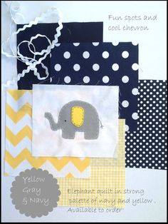 I think i've found my nursery inspiration!! I love that it's bright, and pretty gender neutral! I'm loving the white and navy polka dots and the yellow chevron! Boy Nursery Colors, Navy Nursery, Elephant Nursery, Nursery Neutral, Elephant Theme, Baby Boy Rooms, Baby Boy Nurseries, Baby Bedroom, Kids Rooms