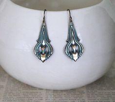 Patina Jewelry, Vintaj Jewelry, Bohemian Jewelry, Vintage Jewelry, Turquoise Patina, Boho Jewelry, Teardrop Earrings, Brass Earrings by Eleven11Designs on Etsy