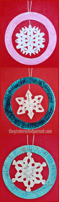 Paper Plate Snowflake Ornament Crafts - Fun Winter & Christmas Crafts for the Kids