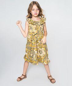 Gold Paisley Ruffle Yoke Dress - Toddler & Girls
