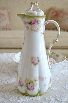 Stunning antique Limoges France porcelain chocolate pot.