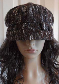 b894784b014366 Women's Brown White Black Gray Tweed Button Applejack Newsboy Hat Cabbie Cap