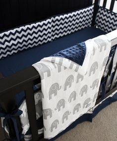 Custom Crib Bedding, Baby Bedding, Crib Set - Navy Blue Chevron And Grey…