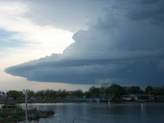 This is a better view of the same storm. Odd-looking shape to the leading edge of it.